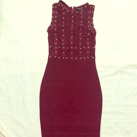 Fashion Nova Dresses & Skirts - Fashion Nova Burgundy Bandage Stud Dress